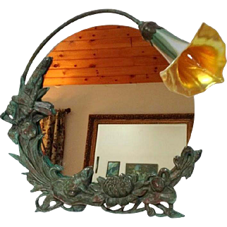 Bronze Art Nouveau Frog Mirror, Accent Desk, Bureau, Table Lamp, Calla Lily Shade