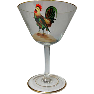 Dorflinger, Honesdale, Rooster Decorated Stemmed Cocktails, Set of 5, Very Nice
