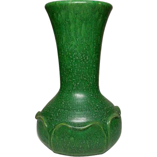 Ephraim Pottery, Matte Green Carved Curled Leaves Arts & Crafts, Grueby Inspired