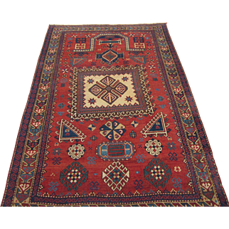 Antique Kazak or Karabagh Prayer Design Oriental Rug , SW Caucasus circa 1900 , 6.3 x 4.2