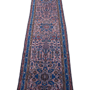 Persian Lilian Runner, Oriental Rug , Hamadan District , Western Persia circa 1920's , 10.4 x 3