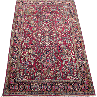 Persian Sarouk Oriental Rug , Arak District , West Central Persia ,Late 1930's , 6.6 x 4.3