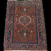 Persian handmade Karadja Oriental Rug , Northwest Persia circa 1920 , 4.8 x 3.6
