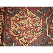 Antique Khamseh Oriental Rug , SW Iran ( Fars Province ) circa 1910 , 6.1 x 5.1