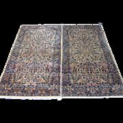 Pair of Kerman Oriental Rugs , Kerman Province , Southeast Persia circa 1920's , 7.2 x 4