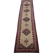 Antique Hamadan Camel Hair Oriental Rug Runner , Western Persia circa 1900 , 15 x 3.5
