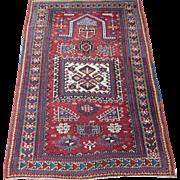 Antique Kazak Prayer Rug,Southwest Caucasus,Dated 1330 = 1913 , 5.5 x 3.7