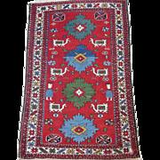 Shirvan Perpedil Oriental Rug ,Eastern Caucasus circa 1920 , 3.1 x 2