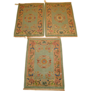 Set of three matching vintage Art Deco Chinese Oriental Rugs, circa 1930, 2.10 x 2.1