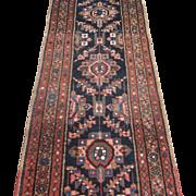 Antique Heriz Runner , Oriental Rug , Azerbaijan Province , Northwest Persia , Early 20th Century , 9.7 x 2.2