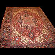 Persian handmade Heriz carpet , Oriental Rug circa 1920 ,measuring 11.5 x 8.8