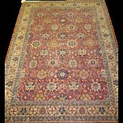 Persian Tabriz Oriental Rug , Azerbaijan Province , Northwest Persia circa 1925 , 11.3 x 8.1