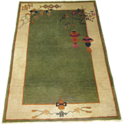 Chinese Art Deco Oriental Rug , Tientsin ( Tianjin ) ,Northeast China circa 1930 , 5.10 x 4.1