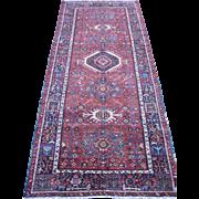 Persian handmade Karadja Carpet , Oriental Rug , Azerbaijan Province , Northwest Persia ,2nd Quarter 20th Century , 12.4x5.4