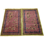 Pair Of Chinese Tianjin Art Deco Scatter Oriental Rugs , Northeast China 1920's / 1930's , Each 4.10 x 3