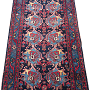 Hamadan Kurdish Runner , Oriental Rug , West Persia circa 1920's , 9.6 x 2.9