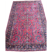 Sarouk Small Carpet , Oriental Rug , Arak Province , West Central Persia 1920's , 9.7 x 6.1