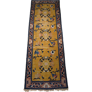 Antique Ningxia Short Runner , North Central China , 3rd Quarter 19th Century , 7.2 x 2.5
