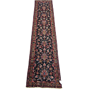 Narrow Heriz Runner , Oriental Rug , NW Persia circa 1930 , 9.3 x 2.1