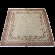Square Peking Chinese Oriental Rug , NE China 1920's , 5 x 5