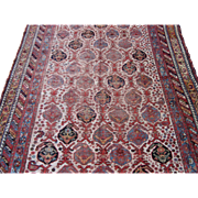 Worn Antique khamseh Small Carpet , Oriental Rug , Fars Province , SW Persia , Late 19th Century , 9 x 4.11