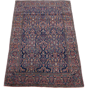 Antique Kashan Oriental Rug , Mohtasham Style , Central Persia , Late 19th Century, 6.3 x 4.3
