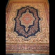 Kerman Carpet , Oriental Rug , Southeast Iran circa 1940 , 11.6 x 9