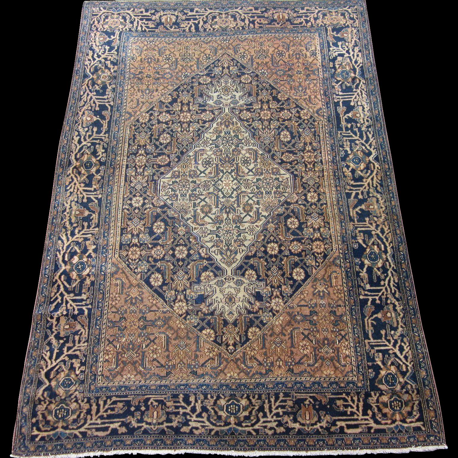 Antique Bibikabad Oriental Rug Greater Hamadan Weaving