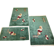 Three Matching Nichols Chinese Art Deco Rugs,Northwest China From 1930's , 4.11x3.1 , 4.10x3.1 , 3.11x2.1