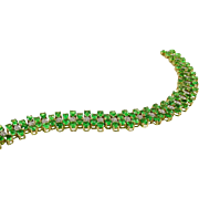 Important Tsavorite Diamond 14k Gold Bracelet