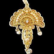 Stunning Antique Diamond Pearl Continental Gold Lavaliere Pendant