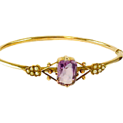 Antique Victorian Amethyst Seed Pearl 9k Gold Bangle Bracelet with