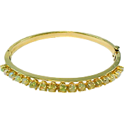 Vintage Opal 14k Yellow Gold Bangle Bracelet