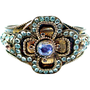 Victorian Sapphire Aquamarine Gilt Metal Bangle Bracelet