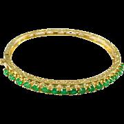 Emerald 14 Karat Yellow Gold Bangle Bracelet