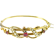 Victorian 9K Gold Ruby Seed Pearl Bangle Bracelet—English Hallmarks
