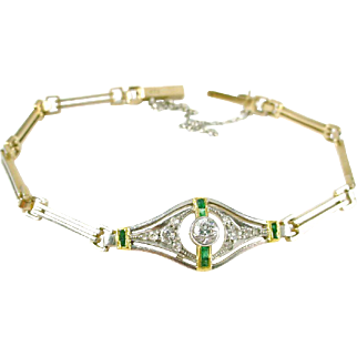 Art Deco Platinum 14k Gold Diamond Emerald Bracelet
