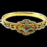 Antique Turquoise Pearl 14k Gold Bangle Bracelet