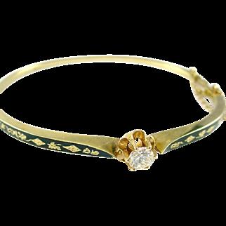 Antique Enamel Diamond 14 Karat Yellow Gold Bangle Bracelet