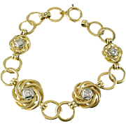 Diamond 14k Gold Open Circle Link Bracelet