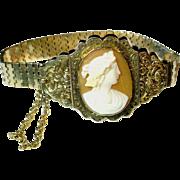 Victorian Cameo Gold Flexible Strap Bracelet