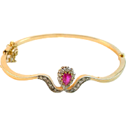 Antique Edwardian Pink Sapphire Diamond Platinum Topped 14k Gold Bracelet
