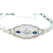 Art Deco Diamond 14k Gold Filigree Bracelet