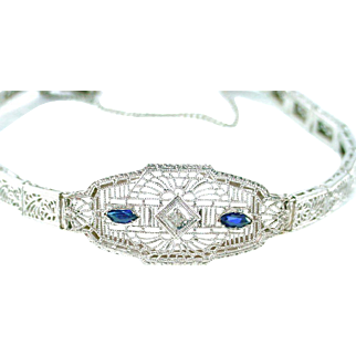 Art Deco Diamond 14k Gold Filigree Bracelet