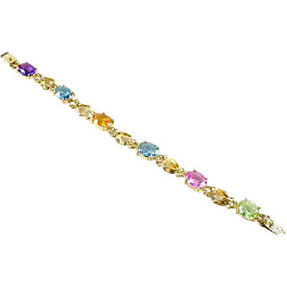 Colored Gemstone Amethyst Topaz 14k Gold Link Bracelet