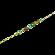 Edwardian Harlequin Zircon Garnet Gold Bracelet