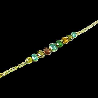 Edwardian Zircon Garnet Gold Bracelet