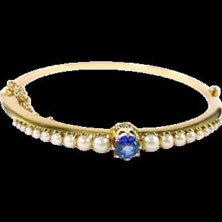 Antique Pearl Sapphire 15K Yellow Gold Bangle Bracelet --Appraisal