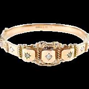 Edwardian Gold Diamond Bangle Bracelet--English Hallmarks