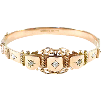 Edwardian Gold Diamond Bangle Bracelet--English Hallmarks